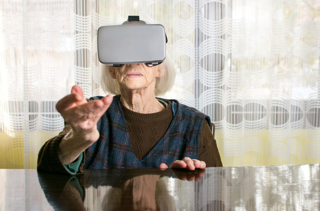 Senior lady VR headset web